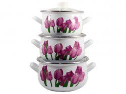 Набір емальованого посуду кришки скло, Тюльпани 560 (Т) 84314 ТМINTEROS