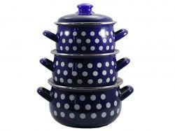 Набір емальованого посуду, Горох синій 558 BLUE (Т) 84312 ТМINTEROS