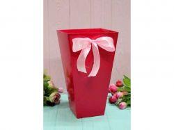 Коробка для квітів трапеція мала 10х15х15см. Кол. Малиновий ТМУПАКОВКИН