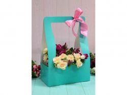 Коробка для квітів трапеція мала 10х15х15см. Кол. Тіффані ТМУПАКОВКИН