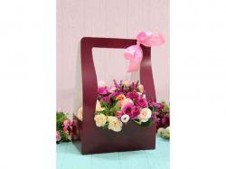 Коробка для квітів трапеція мала 10х15х15см. Кол. Бордовий ТМУПАКОВКИН