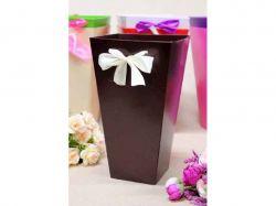 Коробка для квітів трапеція мала 10х15х15см. Кол. Шоколадий ТМУПАКОВКИН