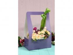 Коробка для квітів трапеція велика 9,5*15*26,5см. Кол. Бузковий ТМУПАКОВКИН