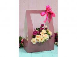 Коробка для квітів трапеція велика 9,5*15*26,5см. Кол. Малиновий ТМУПАКОВКИН