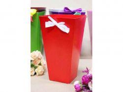 Коробка для квітів трапеція велика 9,5*15*26,5см. Кол. Червоний ТМУПАКОВКИН