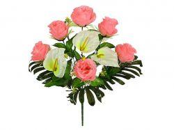 Букет Рози та Кали на папороті, 56 см. (г-11; р-8) 5605 ТМКИТАЙ