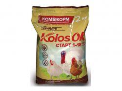 Комбікорм для бройлерів та індиків СТАРТ (1-18 днів) КоlosOK 2кг ТМO.L.KAR
