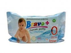 Вологі серветки 60 шт Дитячі Без запаху ТМBRAVO