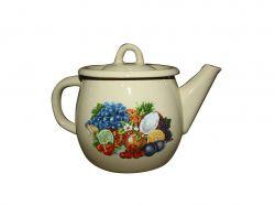 Чайник емальований 1,0л/2 Кремова тропіканка з полою руч. (I27071/2) ТМIDILIA