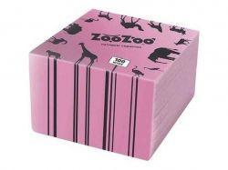 Серветки столові одношарові рожеві 24x23 см 100 шт. ТМ ZooZoo