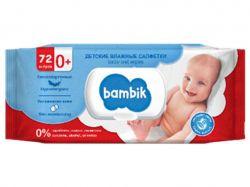 Серветки вологі дитячі з перших днів життя з липою, 72 шт.з клапаном ТМBambik