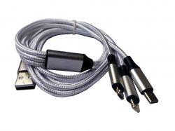 Шнур 3in1 C-type, micro USB, Iphone Lightning 1.2метра білий. 70786556 ТМКитай