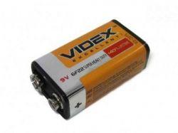 Батарейка Videx 6F22 1 шт в спайке ТМVidex