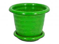 Вазон 0,7л 140мм круглий з підст. зелений ТМКОНСЕНСУС
