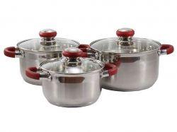 Набір посуду з нерж. сталі 3пр. (1.9/2.6/3.6) RED CR ТМZAUBERG