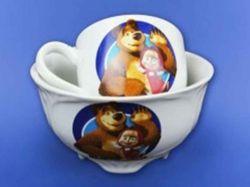 Набір дитячий з деколью Маша,2предм:чашка Одеса,салатник Суми0,480л ТМАВАНГАРД