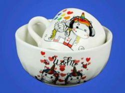 Набір дитячий з деколью Єдиноріг з 2х предметів:чашка і салатник0,5л ТМАВАНГАРД