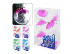 Кульки ялинкові прозорі 8см 6шт/кор 8716 кол. в асорті ТМSTENSON