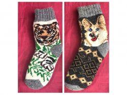Шкарпетки дитячi вовна з малюнком тварин мiкс (1 пара) р. 4-5 ТМЗАПАДНАЯ