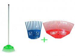 Граблі пластикові віяло з держаком (2в1) 25зуб.11зуб. ТМЛЕМІРА