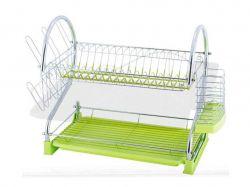 Сушарка для посуду 2-х ярусна 53*25*37,5см з подоном (зелена) 0762A ТМKAMILLE