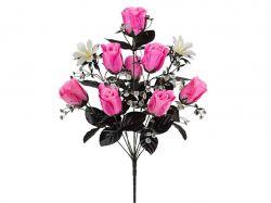 Букет атласних Роз з темним листям 55см. (г-10; р-10) 1067 ТМКИТАЙ