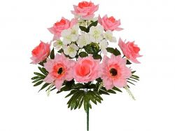 Букет комбінований Троянди, Герані та Гербери 54см. (г-12; р-10) 778 ТМКИТАЙ