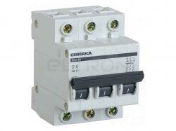 Автоматичний вимикач GENERICA ВА47-29 3P C16 4.5кА MVA25-3-016-C ТМIEK