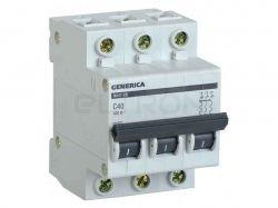 Автоматичний вимикач GENERICA ВА47-29 3P C40 4.5кА MVA25-3-040-C ТМIEK