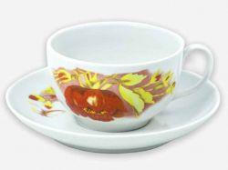 Чайна пара (Чашка 210мл з блюдцем) Янтарь Альпійські квіти 07022 ТМДФЗ
