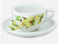 Чайна пара (Чашка 275мл з блюдцем) Гранатовий Орхідея 05728 ТМДФЗ