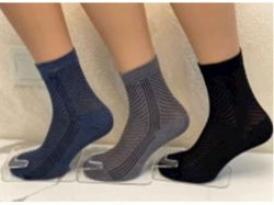 Шкарпетки чоловічі сiтка полоска арт.М0121-7 (12 пар/уп) р.25 колiр в асорт. ТМ - Картинка 1