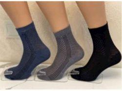 Шкарпетки чоловічі сiтка полоска арт.М0121-7 (12 пар/уп) р.29 колiр в асорт. ТМ - Картинка 1
