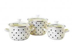 Набір ем. посуду 3-х предм. №6948 Чорні перли (молочна) ТМIDILIA