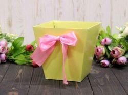 Коробка для квітів трапеція мала 10х15х15см. Кол. Ванільний ТМУПАКОВКИН