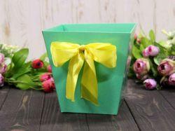 Коробка для квітів трапеція мала 10х15х15см. Кол. Мятний ТМУПАКОВКИН