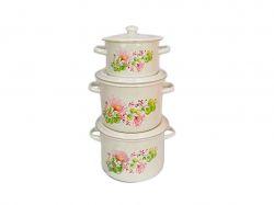 Набір ем. посуду 3-х предм. №242 Квіткова вуаль молочна ТМIDILIA
