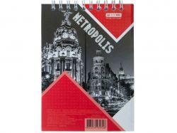 Блокнот на пруж. METROPOLIS, А-6, 48арк., # червон BM.24645101-05 ТМBuromax