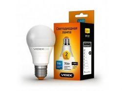 Лампа Videx LED, E27, 9W, (аналог 60W), 3000K (мягкий свет), класс энергопотребления - А+ (VL-A60e-09273)