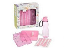 Набір дитячий MAXX PINK (пляшка,контейнер, столові прибори) ТМ HEREVIN