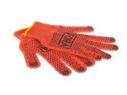 Перчатки робочі 15 300 помаранчеві з ПВХ малюнком 7 клас ТМ FORA