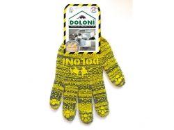 Перчатки робочі 4242 сірі з жовтим ПВХ малюнком 10р. ТМ DOLONI