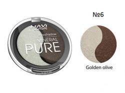 Тіні для повік Mineral Pure 3г тон 06 Золотистий оливковий ТМ MAXI COLOR