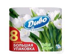 Туалетний папір 2 шаровий (8 шт в уп.) на гільзі білий ЕКОНОМ. ТМ ДИВО