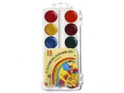 Акварель 12 кольорів Акварелькакарамелька в пластиковій короб. ТМ ТЕТРАДА