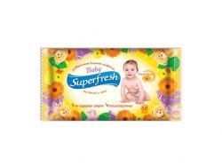 Вологі серветки 60 шт (Для дітей та мам) ТМ SUPER FRESH