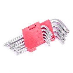 Набір Г-подібних ключів TORX з отвором 9шт, Т10-Т50, Cr-V INTERTOOL HT-0604