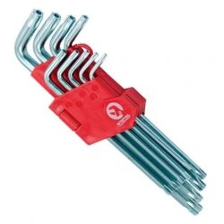 Набір Г-подібних ключів TORX з отвором 9шт, Т10-Т50, Cr-V, Big INTERTOOL HT-0606
