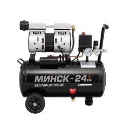 Компрессор Минск-24 БМ, 24л, 1.1 кВт, 220 В, 8 атм, 145 л/мин, малошумный, безмасляный, 2 цилиндра INTERTOOL PT-0019