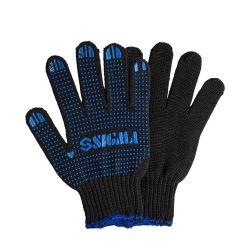 Перчатки трикотажные с ПВХ точкой р10 Оптима (черные) Sigma (9442531) 9442531